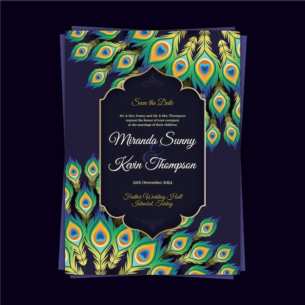 Bruiloft uitnodiging sjabloon met kleurrijke pauwenveren Gratis Vector