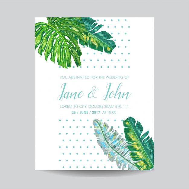 Bruiloft uitnodiging sjabloon met palmbladeren Premium Vector