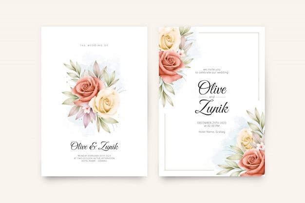 Bruiloft uitnodiging sjabloon met prachtige bloemen en bladeren aquarel Premium Vector