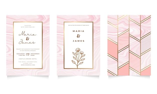 Bruiloft uitnodiging sjabloon met roze vloeibare marmeren ontwerp Premium Vector