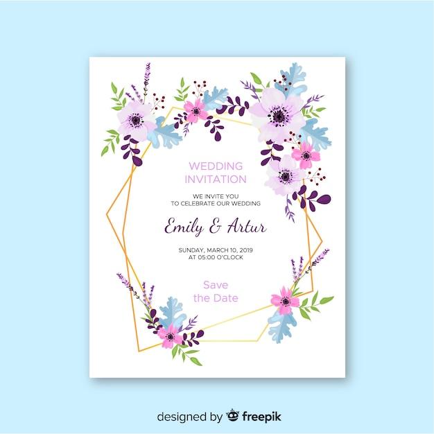 Bruiloft uitnodiging sjabloon plat ontwerp Gratis Vector