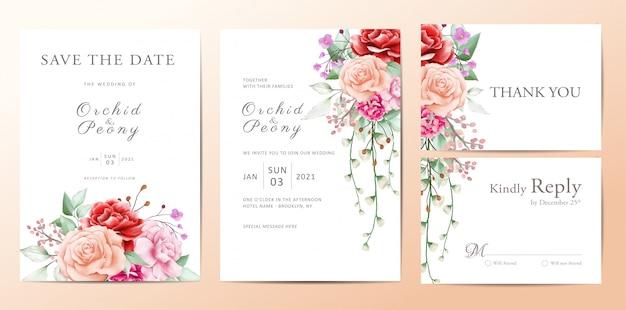 Bruiloft uitnodiging sjabloon set van bloemen boeket Premium Vector
