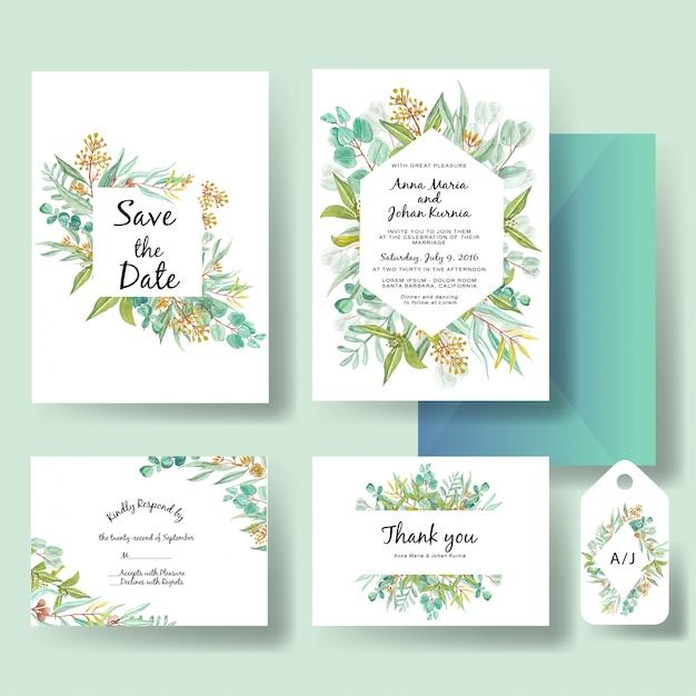 Bruiloft uitnodiging sjabloon van groene eucalyptus verlaat aquarel Premium Vector