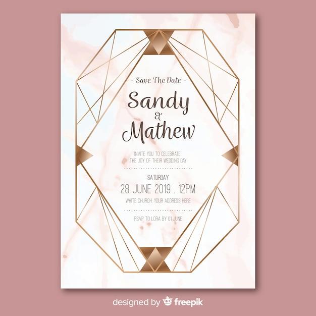 Bruiloft uitnodiging sjabloon Gratis Vector