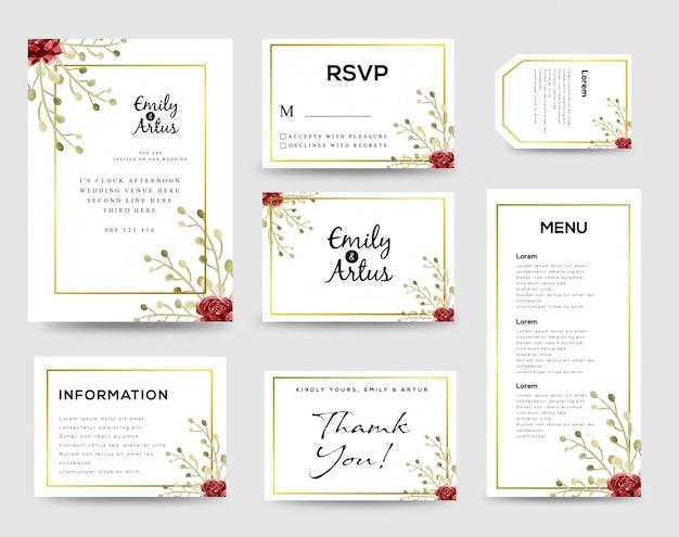 Bruiloft uitnodiging sjabloon Premium Vector