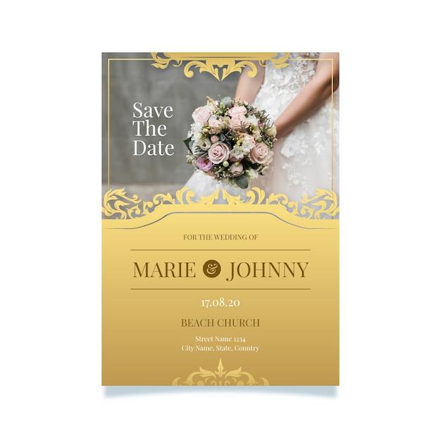 Bruiloft uitnodiging sjabloonstijl Gratis Vector