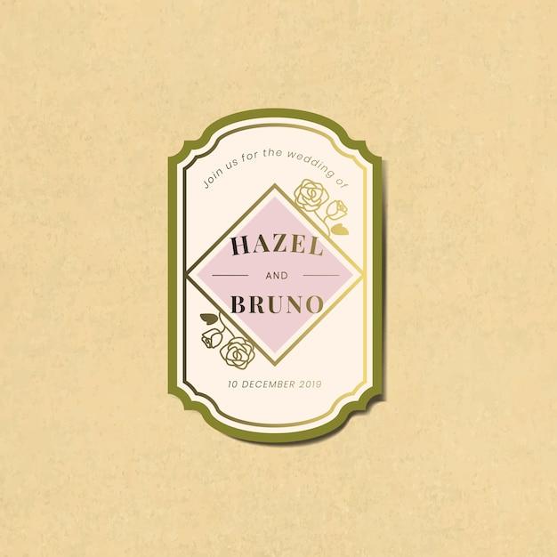 Bruiloft uitnodiging sticker label vector Gratis Vector