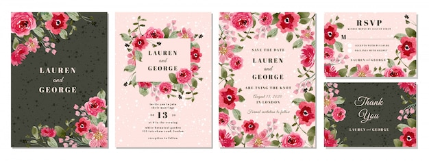 Bruiloft uitnodiging suite met roze bloem aquarel achtergrond Premium Vector