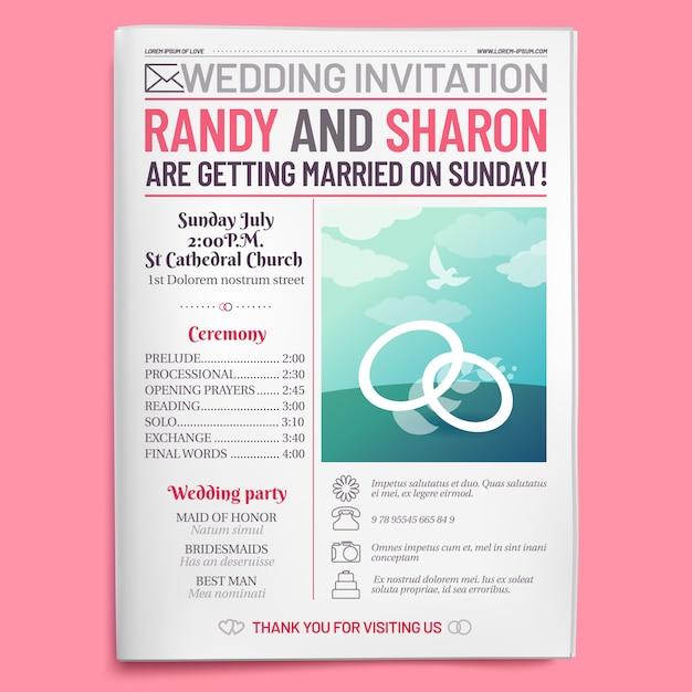 Bruiloft uitnodiging tabloid, krant voorpagina, trouwen brochure en oude liefde dagboek lay-out Premium Vector