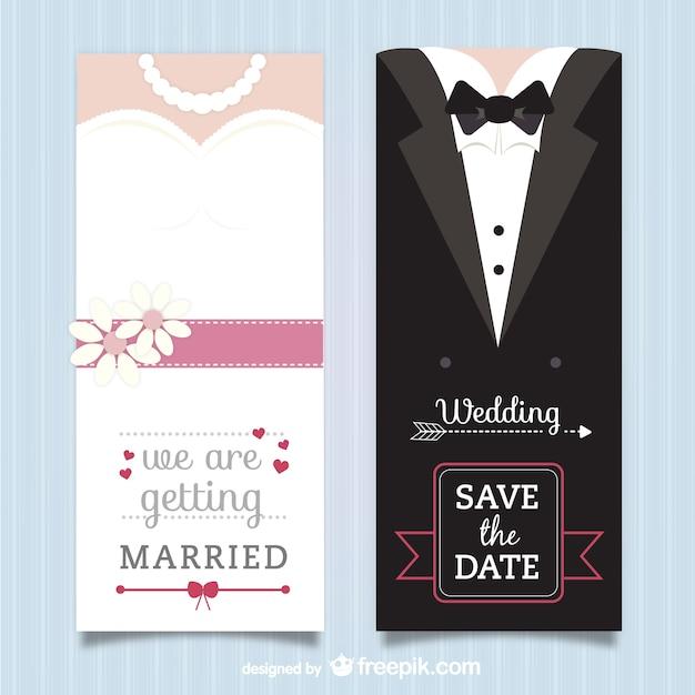 Bruiloft uitnodiging verpakking vector gratis download