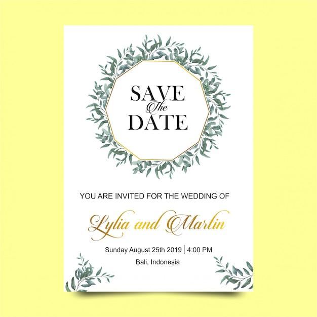 Bruiloft uitnodigingen met aquarel stijl bladeren Premium Vector