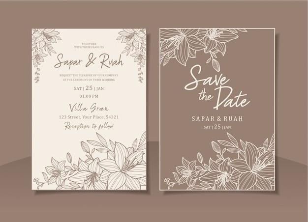 Bruiloft uitnodigingskaart bloemen met elegante schets luxe Premium Vector