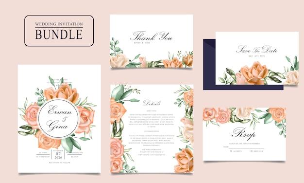 Bruiloft uitnodigingskaart bundel met aquarel bloemen en bladeren sjabloon Premium Vector