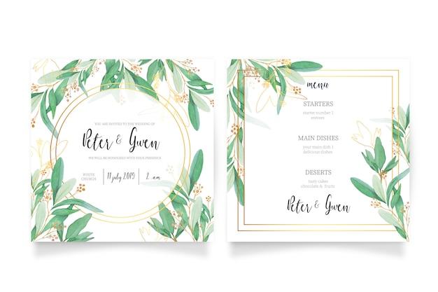 Bruiloft uitnodigingskaart en menusjabloon Gratis Vector