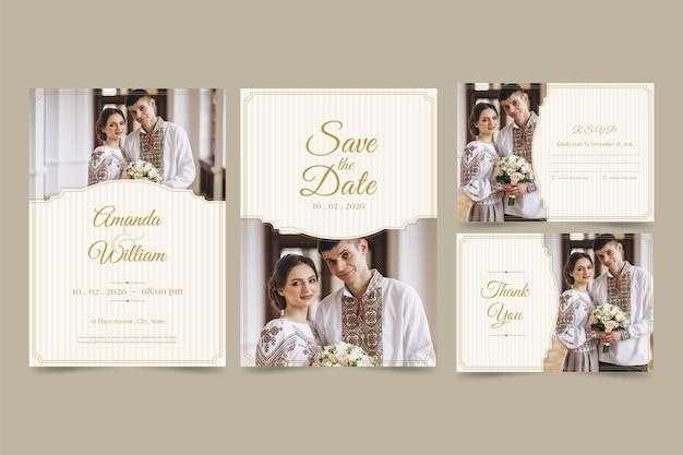 Bruiloft uitnodigingskaart ingesteld met paar Gratis Vector