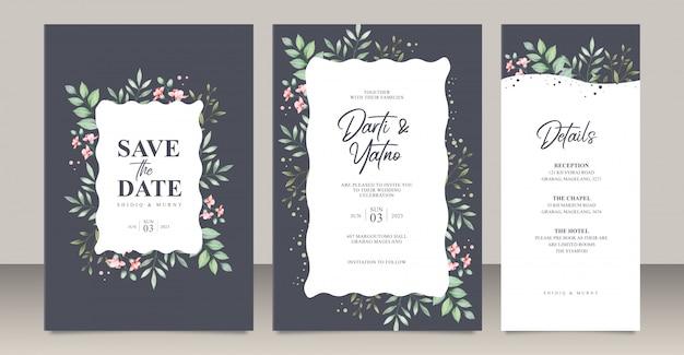 Bruiloft uitnodigingskaart ingesteld sjabloon met bladeren aquarel Premium Vector