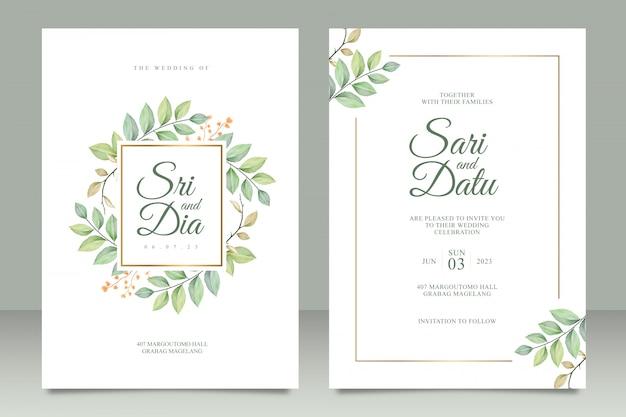 Bruiloft uitnodigingskaart ingesteld sjabloon met prachtige bladeren aquarel Premium Vector
