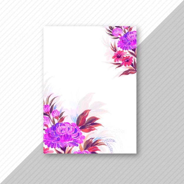 Bruiloft uitnodigingskaart kleurrijke bloemen sjabloon Gratis Vector