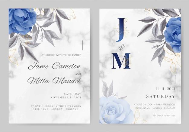 Bruiloft uitnodigingskaart marmeren achtergrond marineblauw roze kleur. aquarel geschilderd. tamplate kaartenset. Premium Vector