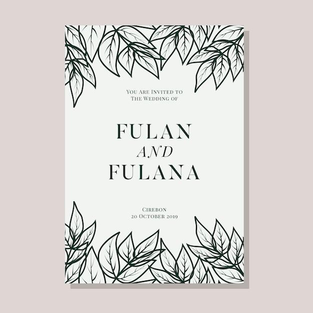 Bruiloft uitnodigingskaart met abstract hand getrokken doodle botanische krans bloemen achtergrond sjabloon Premium Vector