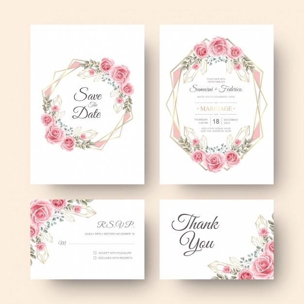 Bruiloft uitnodigingskaart met aquarel bloemdecoratie Premium Vector
