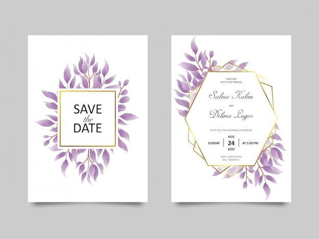 Bruiloft uitnodigingskaart met aquarel stijl paarse blad decoratie Premium Vector