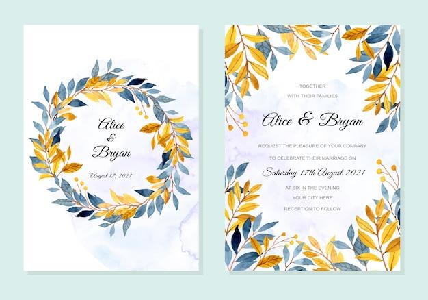 Bruiloft uitnodigingskaart met blauwe gele bladeren aquarel Premium Vector