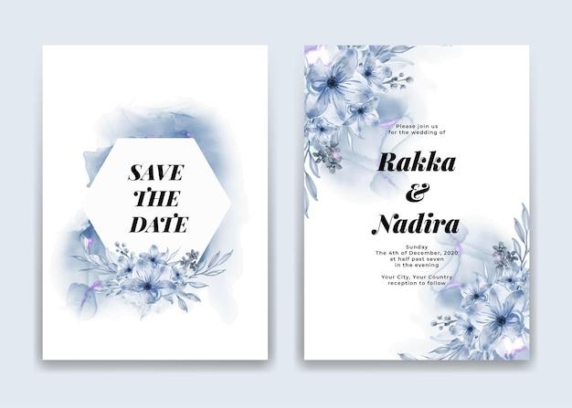Bruiloft uitnodigingskaart met blauwe golven vormen en bloem Gratis Vector