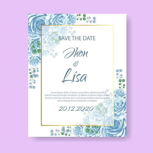Bruiloft uitnodigingskaart met bloem Premium Vector