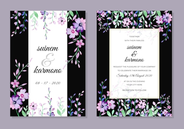 Bruiloft uitnodigingskaart met bloemen aquarel Premium Vector