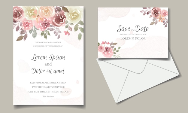 Bruiloft uitnodigingskaart met bloemen en bladeren aquarel Premium Vector