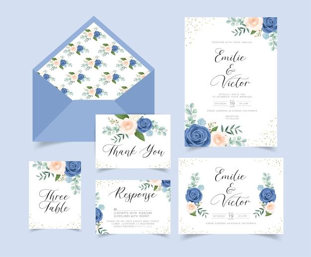 Bruiloft uitnodigingskaart met bloemen en bladeren decoratie Gratis Vector
