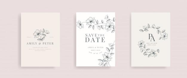Bruiloft uitnodigingskaart met bloemen hand getrokken vector. Premium Vector
