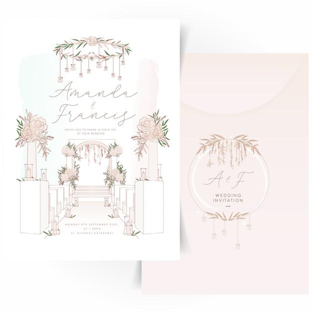 Bruiloft uitnodigingskaart met bloemen krans embleemontwerp Premium Vector