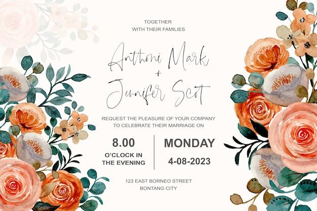 Bruiloft uitnodigingskaart met bloemen rozen aquarel Premium Vector