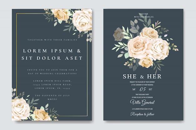 Bruiloft uitnodigingskaart met bloemen sjabloon Premium Vector