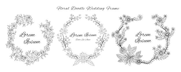 Bruiloft uitnodigingskaart met doodle schets overzicht bloemen en bloem sierontwerp stijlsjabloon Premium Vector