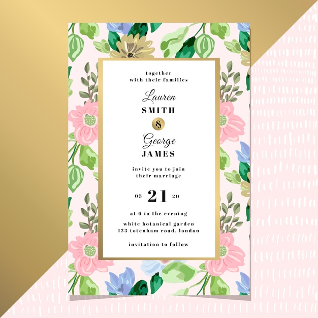 Bruiloft uitnodigingskaart met elegante florale achtergrond Premium Vector