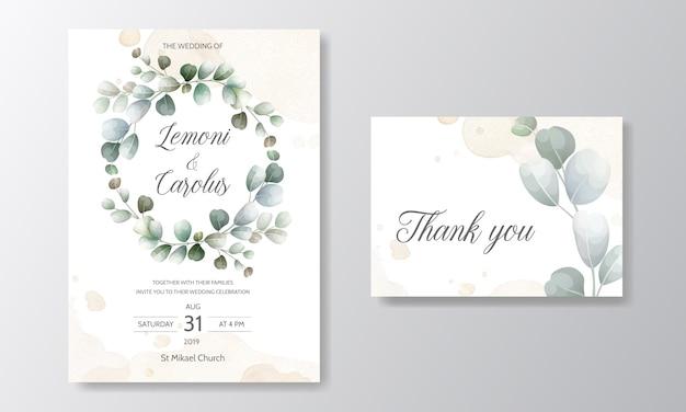 Bruiloft uitnodigingskaart met eucalyptus bladeren sjabloon Premium Vector