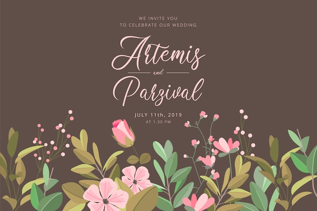 Bruiloft uitnodigingskaart met florale rand Gratis Vector