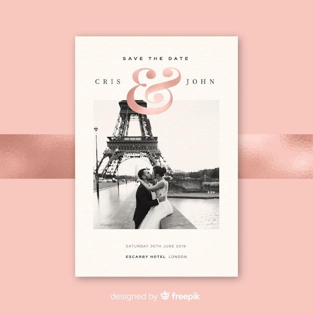 Bruiloft uitnodigingskaart met foto Gratis Vector