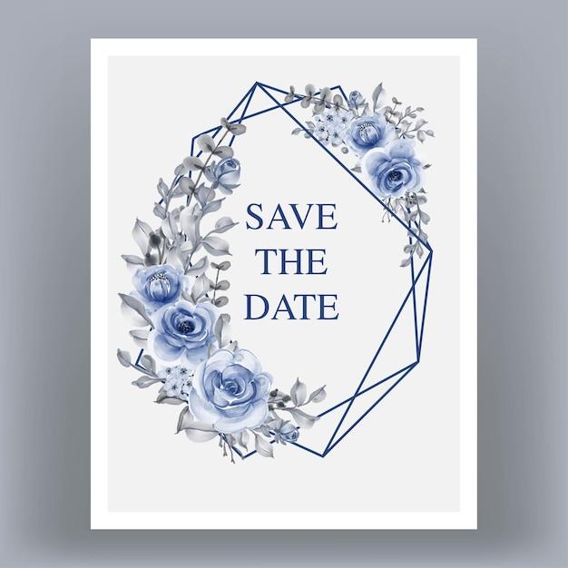 Bruiloft uitnodigingskaart met geometrie frame met blauwe bloemen Premium Vector
