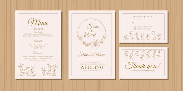 Bruiloft uitnodigingskaart met gouden doodle schets overzicht bloemen en bloem sierontwerp stijlsjabloon Premium Vector