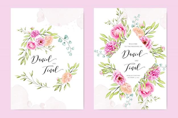 Bruiloft uitnodigingskaart met kleurrijke bloemen en bladeren Premium Vector