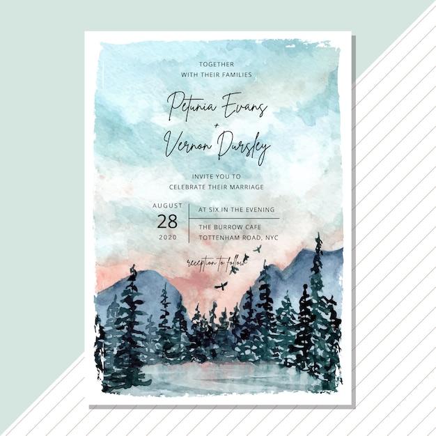 Bruiloft uitnodigingskaart met landschap aquarel sjabloon Premium Vector