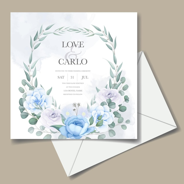 Bruiloft uitnodigingskaart met mooie hand tekenen bloemen Gratis Vector