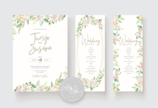 Bruiloft uitnodigingskaart met mooie rozen Gratis Vector