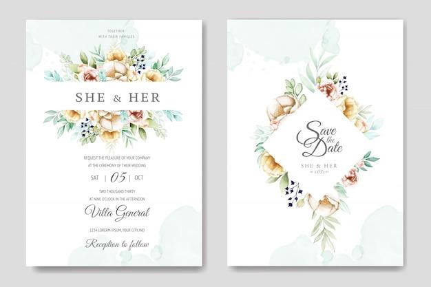 Bruiloft uitnodigingskaart met prachtige aquarel bloemen en bladeren Premium Vector