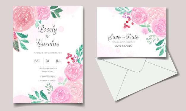 Bruiloft uitnodigingskaart met prachtige bloemen aquarel Premium Vector