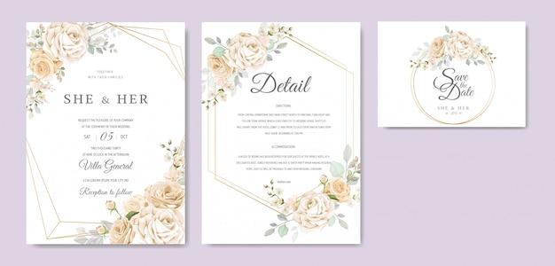 Bruiloft uitnodigingskaart met prachtige bloemen en bladeren sjabloon Premium Vector
